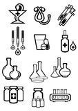 Black outline sketch icons of medicine or drugs Royalty Free Stock Photo