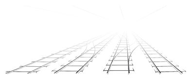 Black Outline of tracks, sleepers and turnouts at the station. Stock Photo