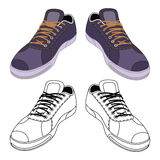 Black outlined & colored sneakers shoes pair Royalty Free Stock Image