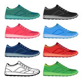Black outlined & colored sneakers shoes set Stock Photography