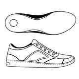 Black outlined sneakers shoe & sole Royalty Free Stock Images