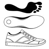 Black outlined sneakers shoe & sole Stock Images