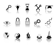 Black over White Miscillaneous Icons Stock Image