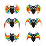 Black owl with rainbow wings Stock Image