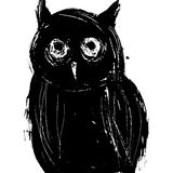 Black owl on a white background.  ink drawing. Stock Images