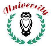 Black owl in wreath as university symbol Stock Photography