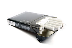 Black pack of cigarettes. Royalty Free Stock Images