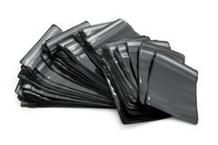 Black packaging bags with zipper Stock Image