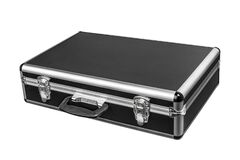 Free Black Padded Aluminum Briefcase Case With Metal Corners Isolated On White Stock Image - 196906981
