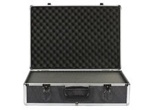 Black padded aluminum briefcase isolated on white Stock Images