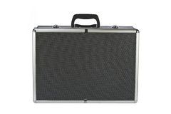 Black padded aluminum briefcase isolated on white Royalty Free Stock Photography