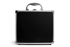 Black padded aluminum briefcase Royalty Free Stock Images