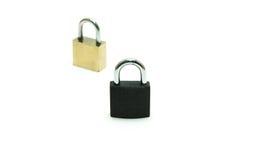 Black padlock(combination lock, bicycle lock) locked isolated wh Stock Photo