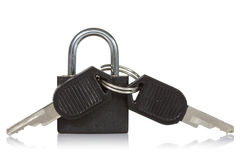 Black padlock with a keys Royalty Free Stock Images