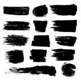 Black paint brush strokes, dirty inked grunge vector art brushes. Creative sketch brush stroke, illustration of brush stain line Royalty Free Stock Photo