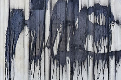 Black Paint-dripped Sheet Metal Fence Stock Images