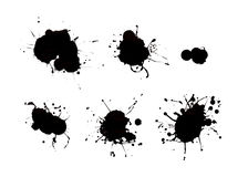 Black Paint Drips. Different Black Paint Drips Isolated on White Background vector illustration