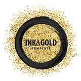 Ink and glitters. Black paint and gold glitters, brush stroke round frame stock illustration