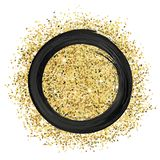 Ink and glitters. Black paint and gold glitters, brush stroke round frame vector illustration