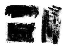 Black paint, ink brush stroke, background, box. Vector black paint, ink brush stroke, brush, line. Dirty artistic design element, box, frame or background for Royalty Free Stock Image