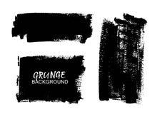 Black paint, ink brush stroke, background, box. Vector black paint, ink brush stroke, brush, line. Dirty artistic design element, box, frame or background for Royalty Free Stock Images