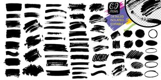 Black paint, ink brush stroke, line or texture. Vector black paint, ink brush stroke, brush, line or texture. Dirty artistic design element, box, frame or royalty free illustration