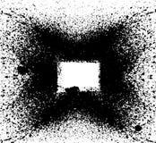 Black paint, ink splash, brushes ink droplets, blots. Dirty artistic design elements, boxes, frames. Grunge frame with space for y vector illustration