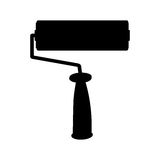 Black paint roller icon isolated on white background Stock Photography