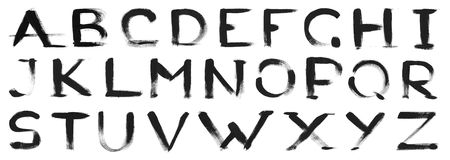 Black paint sketch font alphabet Stock Photography