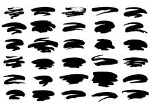 Black paint strokes. Collection of different freeform black grunge brush strokes isolated over white background. Set of design elements. Vector illustration Stock Photography