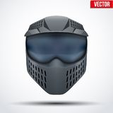 Black paintball mask with goggles. Original design Stock Photo