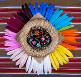 Black Painted Easter Eggs Basket Rainbow Feathers Stock Photos