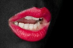 Black Painted Face - Red Lips Stock Images