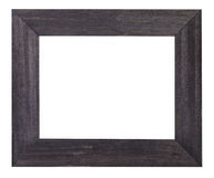 Black painted flat wooden picture frame. With cut out blank space isolated on white background Royalty Free Stock Images
