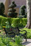 Black painted garden bench photographed in springtime at Eastcote House historic walled garden, Hillingdon UK