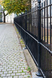 Black painted steel fence. Street with a tree in autumnal colored leaves and a black steel fence Stock Photos
