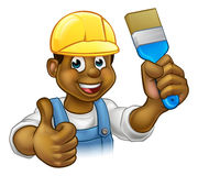 Black Painter Decorator Cartoon Character Stock Images