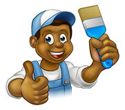 Black Painter Decorator Cartoon Character Royalty Free Stock Photos