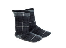 Black pair of warm boots home, isolate Stock Photo