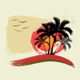 Black Palm trees. Sun and gulls. Illustration Royalty Free Stock Photos