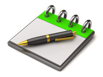 Black pan and blank notebook Royalty Free Stock Photo