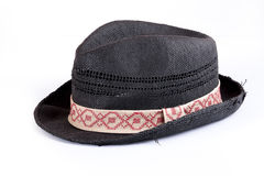 Black panama straw hat. Isolated on white stock photography