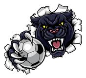 Black Panther Soccer Mascot Breaking Background Royalty Free Stock Photography