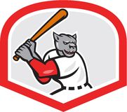 Black Panther Baseball Player Batting Cartoon Stock Photo