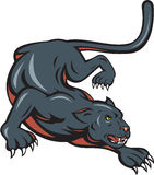 Black Panther Crouching Cartoon Royalty Free Stock Photography