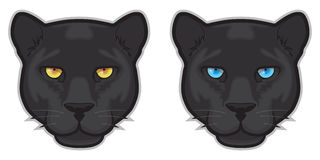 Black Panther Faces. Illustration of black panther faces Royalty Free Stock Photo