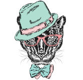 Black Panther in a hat and sunglasses. Hipster. vector illustration