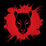 Black Panther Head. Designed on splash blood background graphic vector Stock Photo