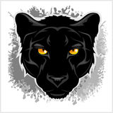 Black Panther head - on grunge background. Black Panther head - on grunge gray background Royalty Free Stock Photos