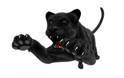 Black panther isolate on white background. Black tiger, 3d Illustration, 3d render Stock Photo